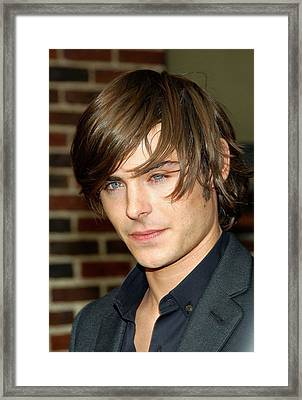Zac Efron At Talk Show Appearance Framed Print by Everett