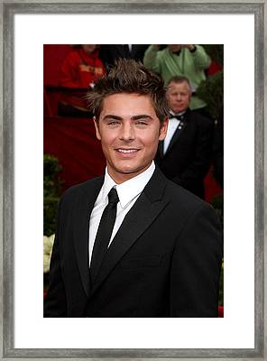 Zach Efron At Arrivals For 82nd Annual Framed Print