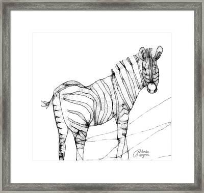 Zebra Doodle Framed Print by Arline Wagner