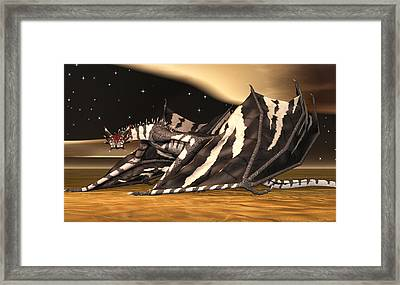 Framed Print featuring the digital art Zebra Dragon by Walter Colvin