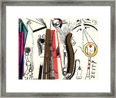 Framed Print featuring the drawing Zeitpostcard by Christine Perry