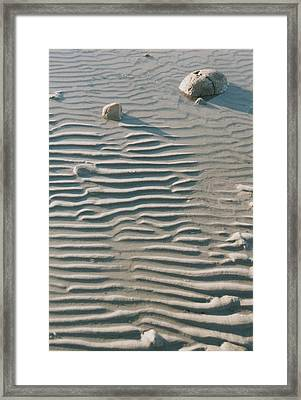Zen Ripple And Rock Shore Framed Print
