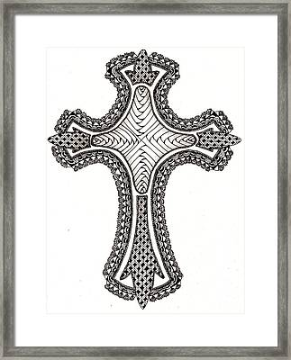 Zentangle Cross Framed Print by Michelle Kidwell