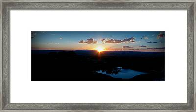Zia Sun Over Tanoan Framed Print by Aaron Burrows