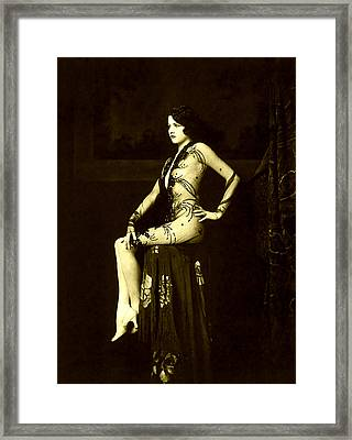 Ziegfeld Girl Jean Ackerman In Black Translucent Lace Gown Framed Print by Rosie Mills
