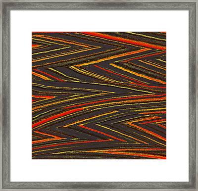 Zig Zag Collection Grey Vs Orange Framed Print by James Mancini Heath