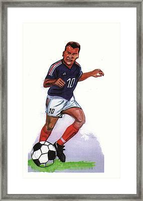 Zinedine Zidane 01 Framed Print by Emmanuel Baliyanga