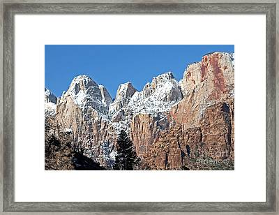 Zion Towers Framed Print by Bob and Nancy Kendrick