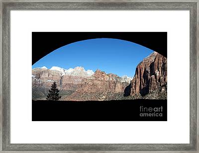 Framed Print featuring the photograph Zion Tunnel View by Bob and Nancy Kendrick