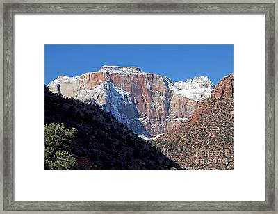 Zion's West Temple Framed Print by Bob and Nancy Kendrick