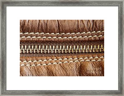 Zipper And Leather Detail Framed Print by Blink Images