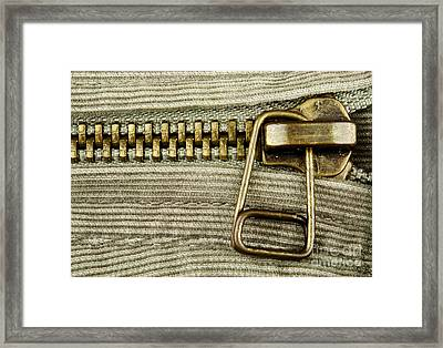 Zipper Detail Close Up Framed Print by Blink Images