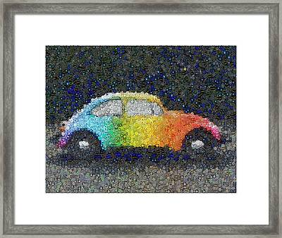 Zodiac Vw Bug Mosaic Framed Print by Paul Van Scott