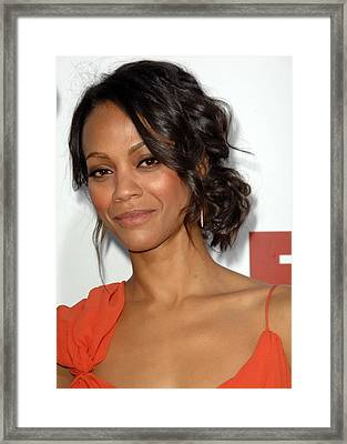 Zoe Saldana At Arrivals For Death At A Framed Print