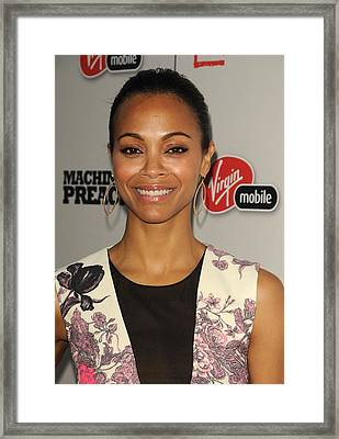 Zoe Saldana At Arrivals For Machine Gun Framed Print by Everett