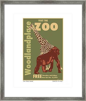 Zoo Poster Framed Print by Kenneth De Tore