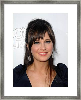 Zooey Deschanel At Arrivals For 500 Framed Print