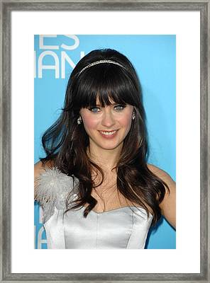 Zooey Deschanel At Arrivals For Los Framed Print by Everett
