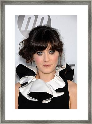Zooey Deschanel At Arrivals For Our Framed Print