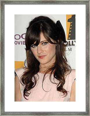 Zooey Deschanel At Arrivals For The Framed Print by Everett
