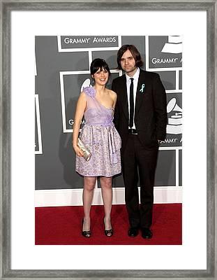 Zooey Deschanel Wearing A Luella Dress Framed Print