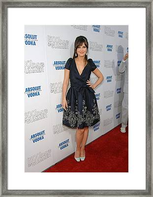 Zooey Deschanel Wearing A Naeem Khan Framed Print by Everett