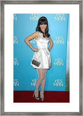 Zooey Deschanel Wearing An Erin Framed Print
