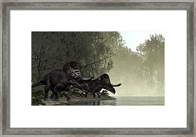 Framed Print featuring the painting Zuniceratops by Walter Colvin