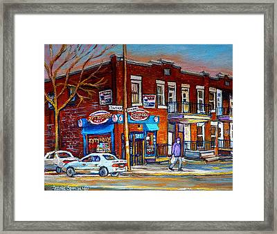 Zytynsky's Deli Montreal Framed Print by Carole Spandau