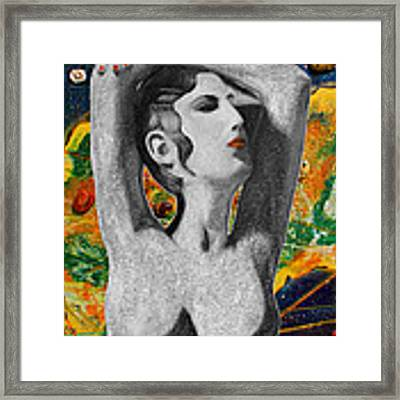 Cyprus Map And Aphrodite Framed Print by Augusta Stylianou