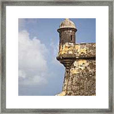 Fortified Walls And Sentry Box Of Fort San Felipe Del Morro Framed Print by Bryan Mullennix