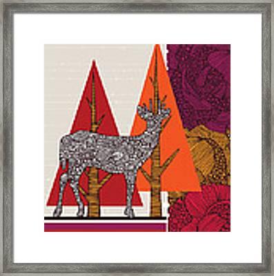 A Deer In Woodland Framed Print