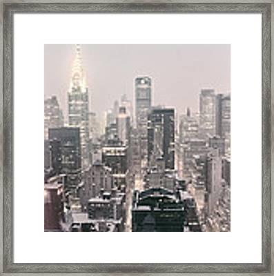 New York City - Snow Covered Skyline Framed Print by Vivienne Gucwa