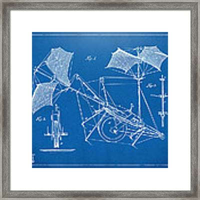 1879 Quinby Aerial Ship Patent Minimal - Blueprint Framed Print