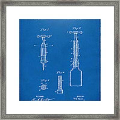 1884 Corkscrew Patent Artwork - Blueprint Framed Print by Nikki Marie Smith