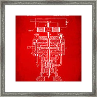 1894 Tesla Electric Generator Patent Red Framed Print by Nikki Marie Smith