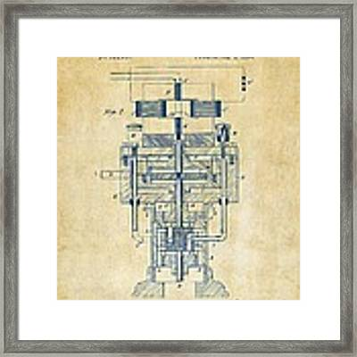 1894 Tesla Electric Generator Patent Vintage Framed Print by Nikki Marie Smith