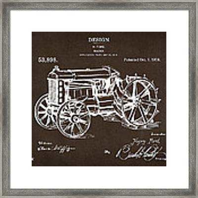 1919 Henry Ford Tractor Patent Espresso Framed Print by Nikki Marie Smith