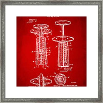1944 Wine Corkscrew Patent Artwork - Red Framed Print by Nikki Marie Smith