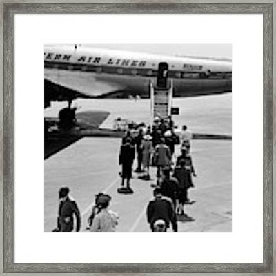 1950s Airplane Boarding Passengers Framed Print by Vintage Images