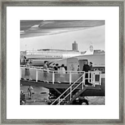 1950s Men And Women Walking Down Ramp Framed Print by Vintage Images