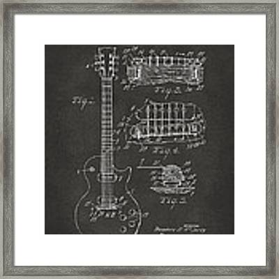 1955 Mccarty Gibson Les Paul Guitar Patent Artwork - Gray Framed Print by Nikki Marie Smith