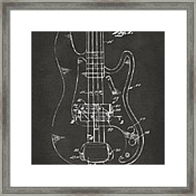 1961 Fender Guitar Patent Minimal - Gray Framed Print by Nikki Marie Smith