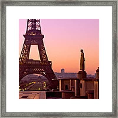 Eiffel Tower At Dawn / Paris Framed Print by Barry O Carroll