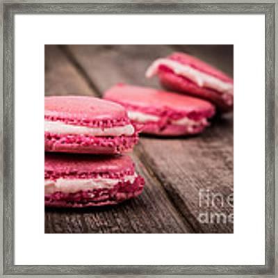 Raspberry Macarons Retro Framed Print
