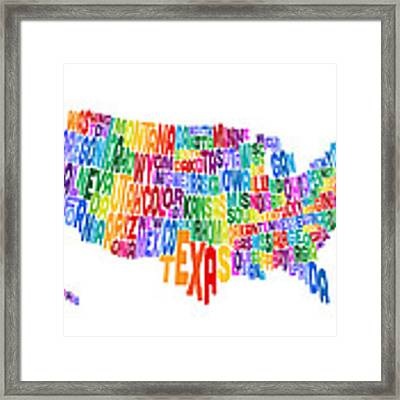 United States Typography Text Map Framed Print by Michael Tompsett