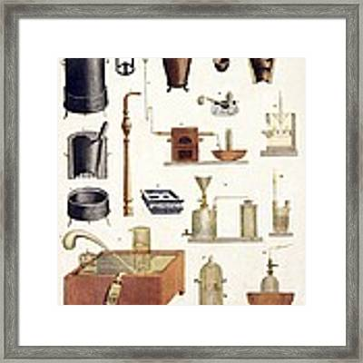Chemistry Equipment, Early 19th Century Framed Print
