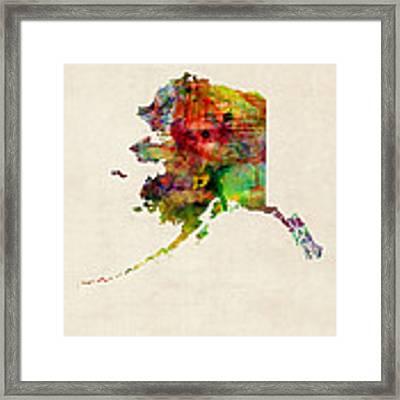 Alaska Watercolor Map Framed Print