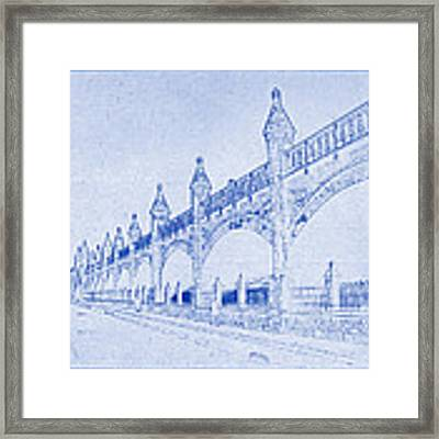 Antwerp Railway Bridge Blueprint Framed Print