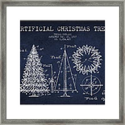 Artifical Christmas Tree Patent From 1927 - Navy Blue Framed Print